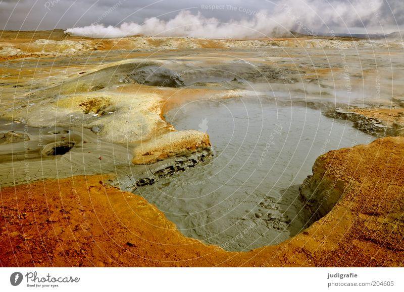 Island Umwelt Natur Landschaft Urelemente Erde Feuer Wasser Himmel Klima Hügel Vulkan außergewöhnlich heiß natürlich Wärme Stimmung Einsamkeit einzigartig