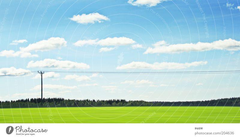 Umwelten schön Ferien & Urlaub & Reisen Wirtschaft Energiewirtschaft Natur Landschaft Luft Himmel Wolken Schönes Wetter Wiese Feld blau grün unterwegs Strommast
