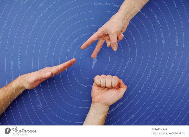#ASJ# Schere Stein Papier I Kunst ästhetisch Spielen spielend Hand Symbole & Metaphern Freude Leichtigkeit blau Erfolg Farbfoto Gedeckte Farben mehrfarbig