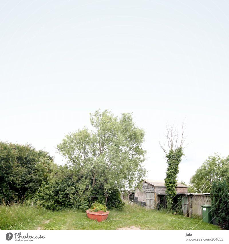 in schrebers garten Natur Himmel Baum Gras Sträucher Garten Wiese Hütte Gebäude blau grün rot Farbfoto Außenaufnahme Menschenleer Textfreiraum oben Tag Totale