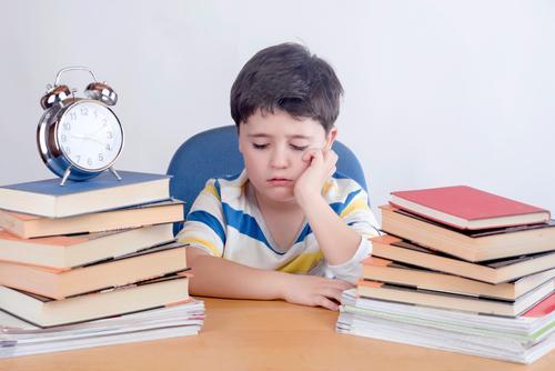 Boring Schüler studieren Mensch Kind Lifestyle Traurigkeit Gefühle Junge Schule Denken Stimmung Kindheit Buch lernen lesen Neugier Bildung Wut