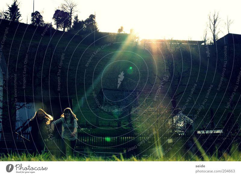 die beiden Schönen Mensch Kind Himmel Natur Jugendliche Sonne Freude Leben Wiese Landschaft Wärme lachen Glück Garten Freundschaft rennen