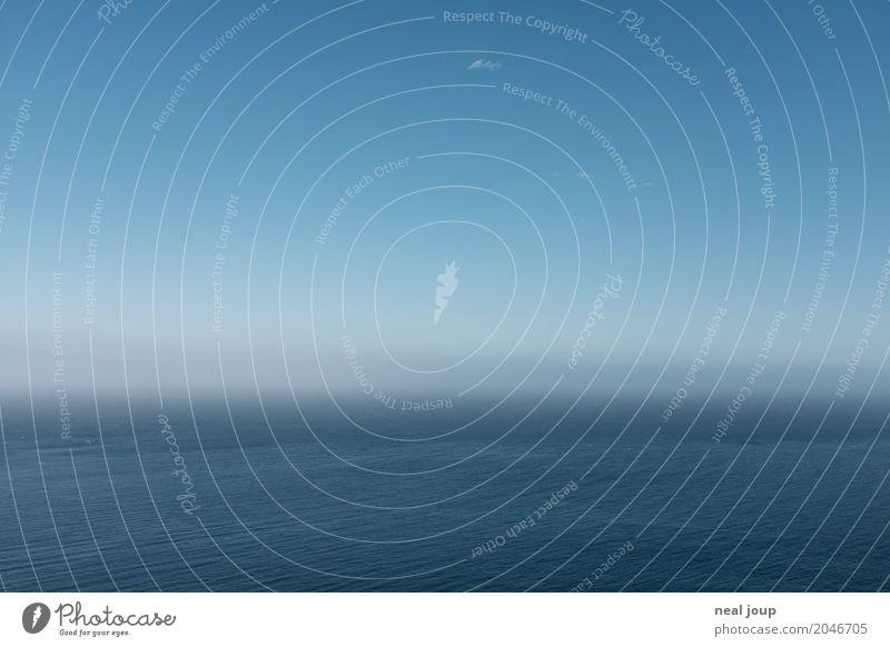 Blau in Blau Urelemente Horizont Schönes Wetter Meer Menschenleer Blick frei Unendlichkeit blau Gelassenheit geduldig ruhig Hoffnung Einsamkeit
