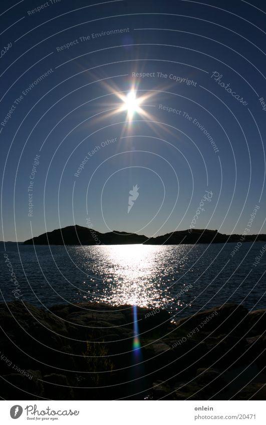 Sonne über Norwegen Meer Gegenlicht Fjord Nacht am Tag