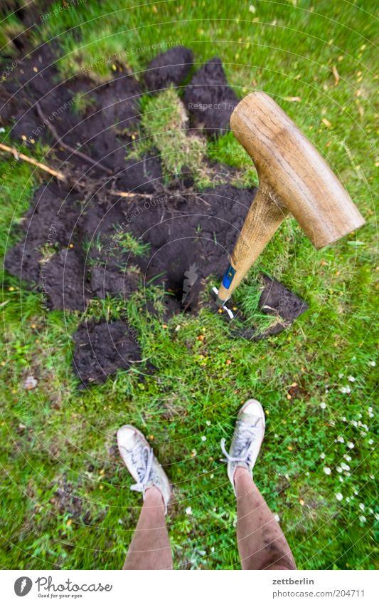 Umgraben Pflanze Gras Sommer Spaten Fuß Beine Schienbein Mann Mensch stehen Gartenarbeit Arbeit & Erwerbstätigkeit spatenstiel Erde Männerbein Gartengeräte
