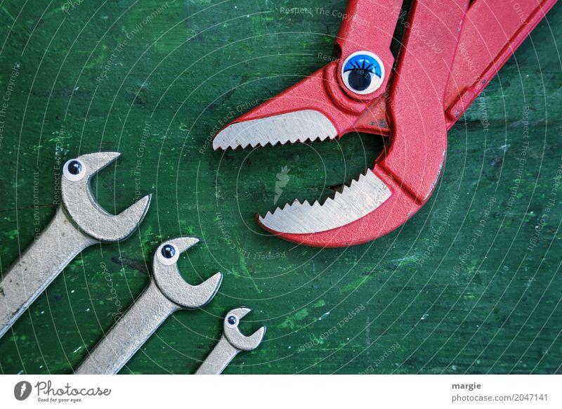 ...Ruhe jetzt; sagt die Zange zu 3 Schraubenschlüssel Kindergarten Beruf Handwerker Baustelle Dienstleistungsgewerbe Werbebranche Werkzeug Schere