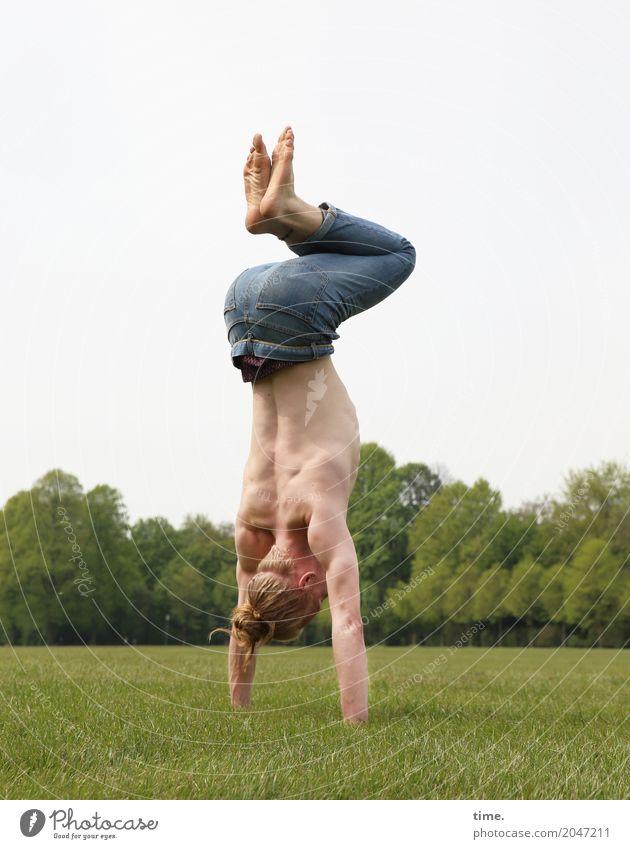 . Mensch Mann Erwachsene Leben Bewegung maskulin ästhetisch Fitness Leidenschaft Körperpflege Konzentration Sport-Training Kontrolle Tänzer