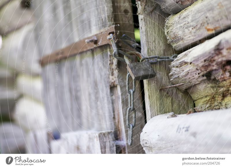 "das ist mein ""Schloss"" alt Holz Schutz Kette Holztür Vorhängeschloss Holzhütte Türspalt"