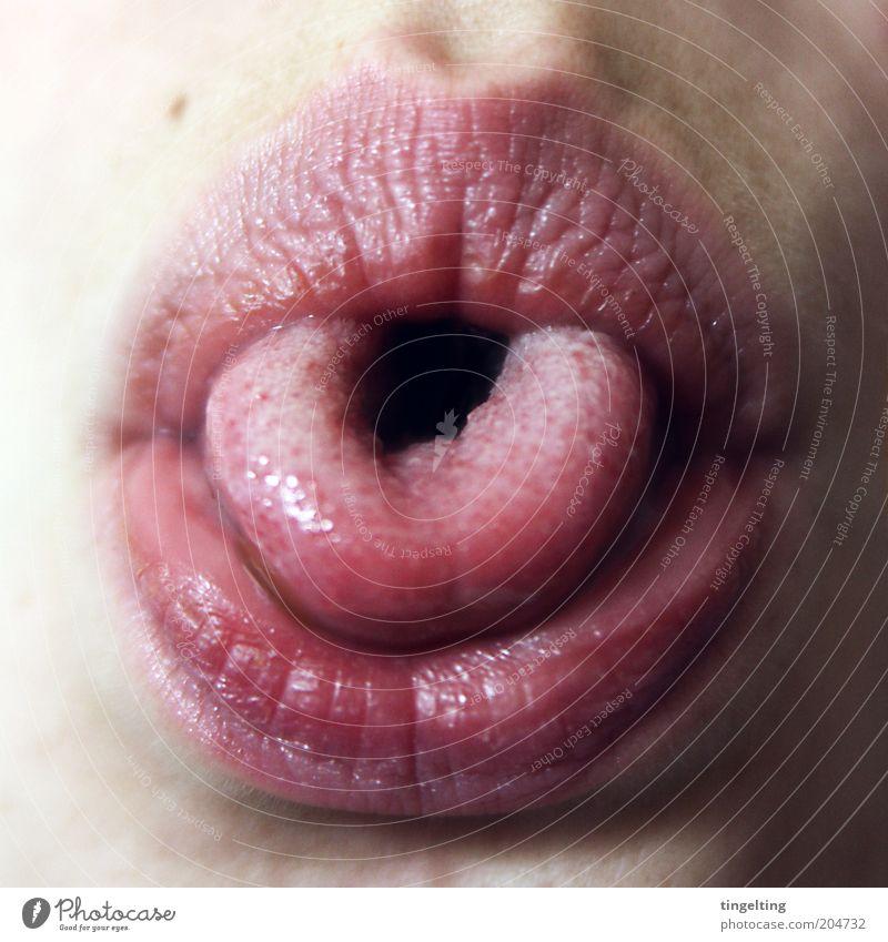 U Mensch Freude Gesicht Bewegung glänzend Mund Haut Lippen Hautfalten drehen Zunge Unsinn Leberfleck Humor Pore Wölbung