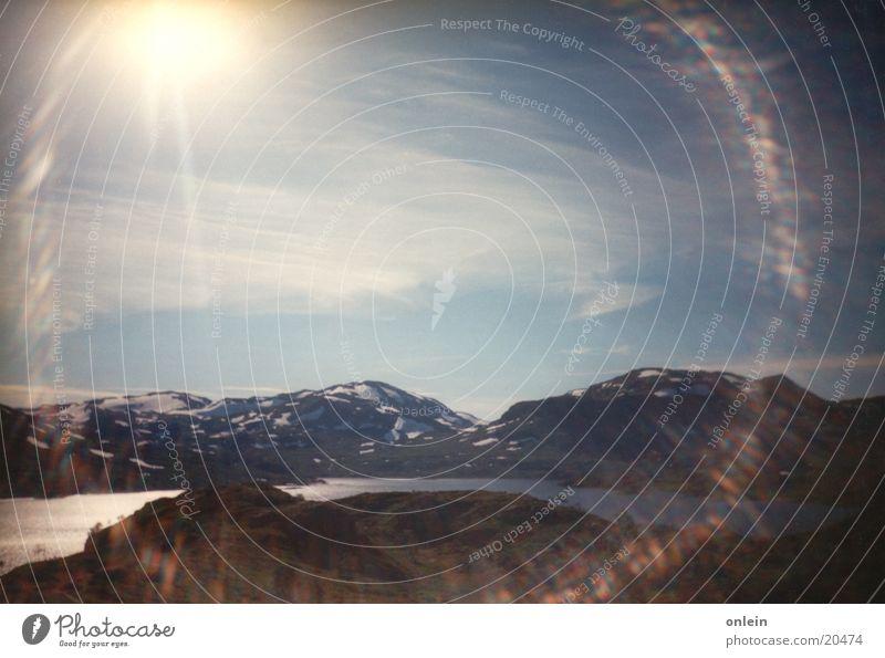 Sonne bei den Elchen Schnee Berge u. Gebirge Norwegen Blende