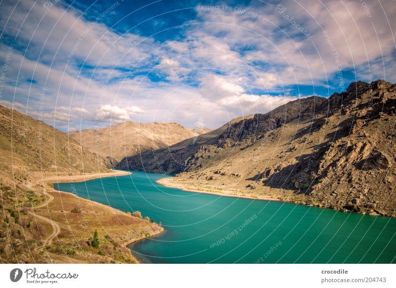 New Zealand 75 Natur blau Berge u. Gebirge Wege & Pfade See Landschaft Umwelt Felsen ästhetisch Hügel Urelemente Schönes Wetter mehrfarbig Weitwinkel Gebirgssee