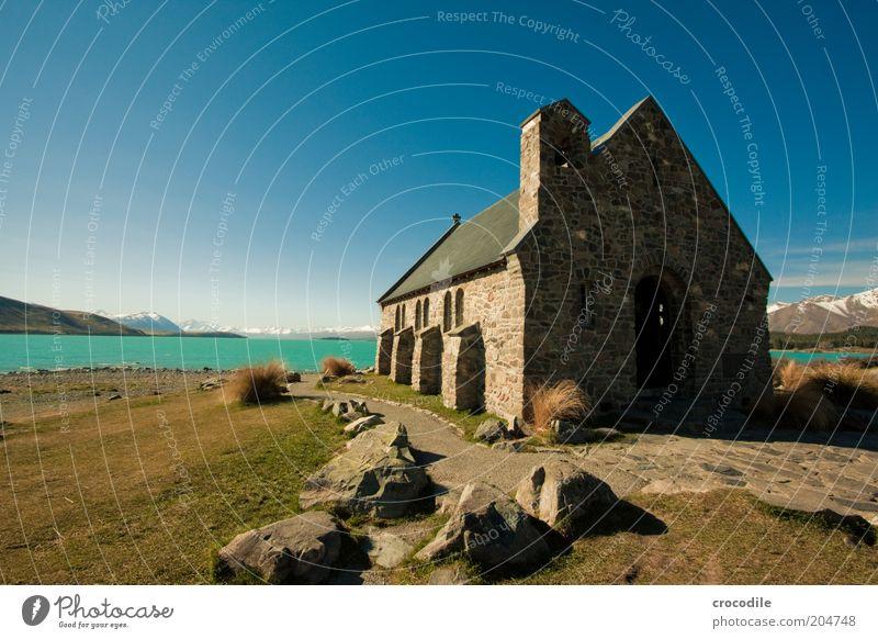 New Zealand 78 Umwelt Natur Landschaft Himmel Wolken Schönes Wetter Alpen Schneebedeckte Gipfel Seeufer Meer Insel Neuseeland Lake Tekapo Religion & Glaube