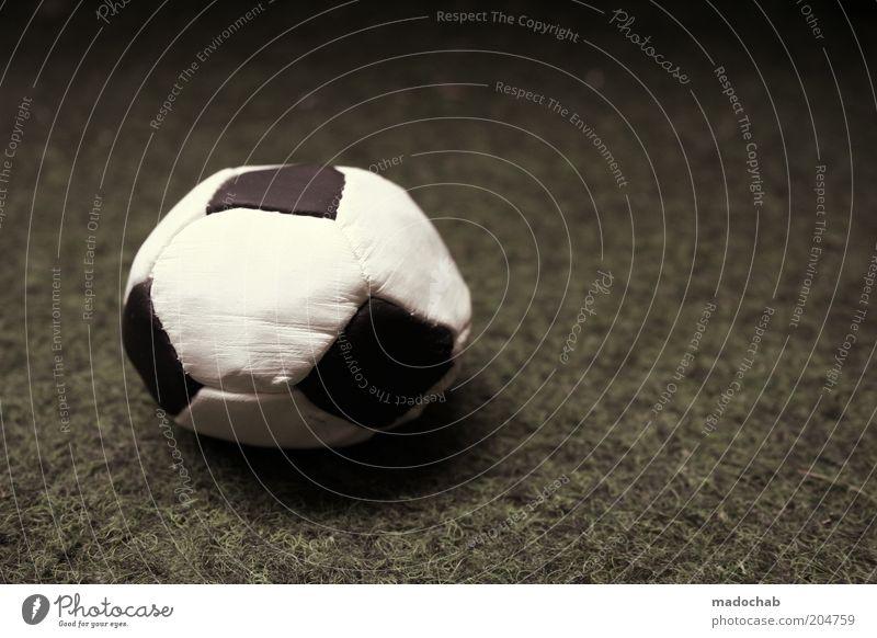 Rollstuhlwasserball weiß schwarz Sport Gefühle Stimmung Fußball Fußball Ball kaputt Symbole & Metaphern Erschöpfung platt negativ Ballsport schlaff Kunstrasen