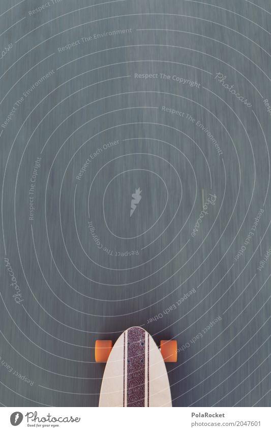 #AS# Longboard on the road Lifestyle Sport Bewegung Spielen orange Freizeit & Hobby Coolness Asphalt sportlich Skateboarding