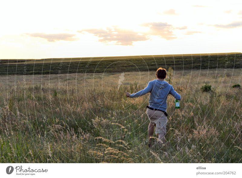 Der Sonne entgegen... Natur Jugendliche Himmel Sommer Freude Ferne Wiese Freiheit Landschaft Feld laufen Horizont rennen Abenteuer Lebensfreude Unendlichkeit