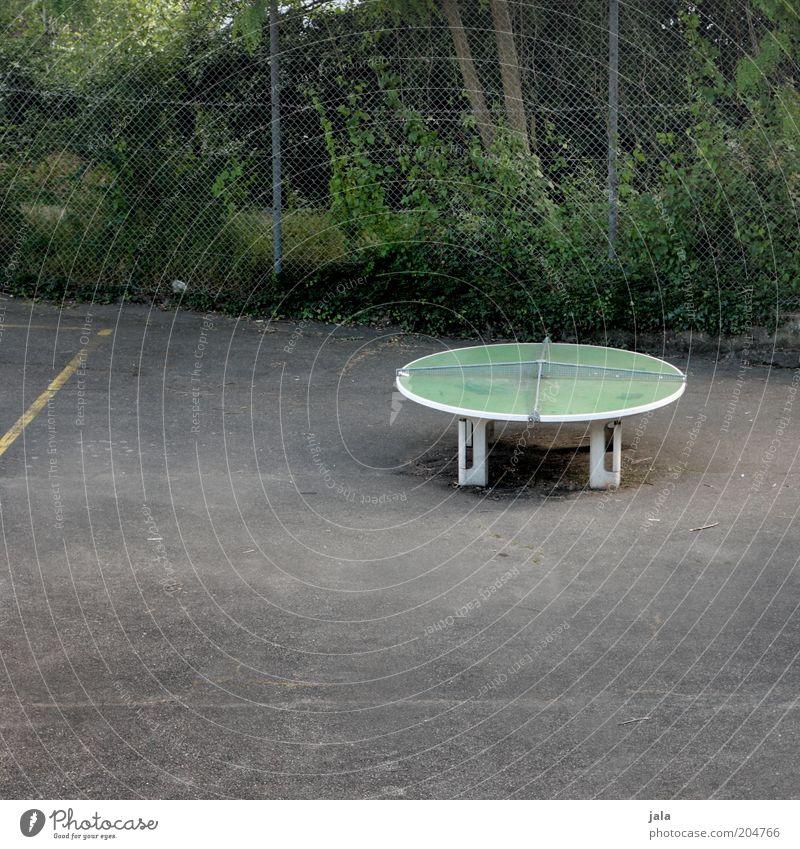 spielen wir mal 'ne runde? Sport Funsport Freizeit & Hobby Tischtennis Tischtennisplatte Sportstätten Platz Zaun trist Farbfoto Außenaufnahme Menschenleer