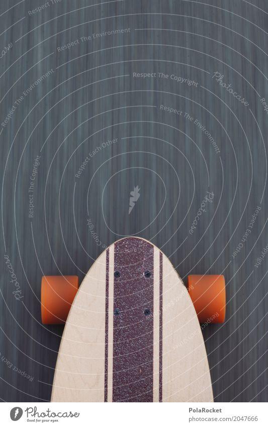 #AS# Longboard on the road 2 Lifestyle Freizeit & Hobby Bewegung Sport sportlich Dynamik Asphalt orange Skateboard Skateboarding Coolness Detailaufnahme