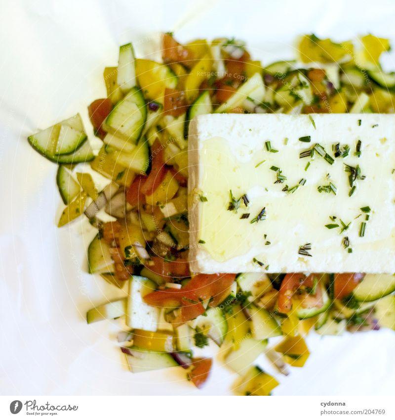 Schafskäse auf Gemüsebett Lebensmittel Käse Salat Salatbeilage Kräuter & Gewürze Öl Ernährung Bioprodukte Vegetarische Ernährung Diät Lifestyle genießen Idee