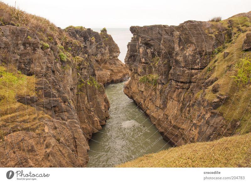 New Zealand 90 Umwelt Natur Landschaft Urelemente Erde Wasser Küste Meer Insel ästhetisch außergewöhnlich standhaft bizarr einzigartig Pancake Rocks Farbfoto