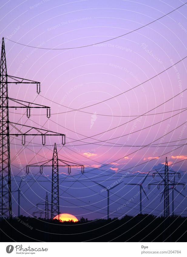 Energie in allen Variationen Sonne Energiewirtschaft Elektrizität Netzwerk Netz violett Nachthimmel Windkraftanlage Strommast ökologisch Umweltschutz Vernetzung Klimawandel nachhaltig Hochspannungsleitung standhaft