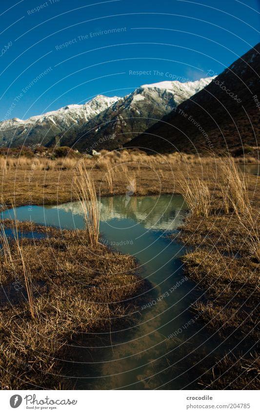 New Zealand 91 Natur Himmel Ferien & Urlaub & Reisen ruhig Berge u. Gebirge Landschaft Umwelt Insel Reisefotografie Alpen außergewöhnlich Gipfel Urelemente Schönes Wetter Grasland Neuseeland