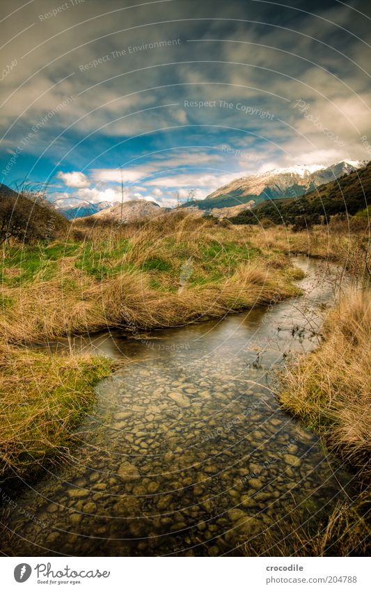 New Zealand 94 Himmel Natur Wasser Ferien & Urlaub & Reisen ruhig Berge u. Gebirge Landschaft Umwelt Insel Urelemente außergewöhnlich Alpen Reisefotografie Gipfel Bach Grasland