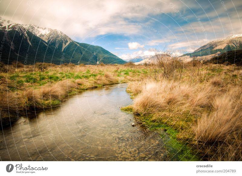 New Zealand 95 Himmel Natur Wasser Ferien & Urlaub & Reisen ruhig Berge u. Gebirge Landschaft Umwelt Insel Urelemente außergewöhnlich Alpen Reisefotografie Gipfel Bach Grasland