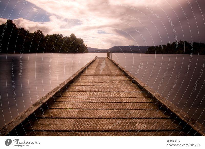 New Zealand 97 Natur Wasser Ferien & Urlaub & Reisen ruhig Wolken Landschaft Umwelt ästhetisch Aussicht Reisefotografie Ziel Idylle Steg Seeufer Anlegestelle Urelemente
