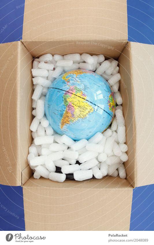 #AS# Einmal zum Mitnehmen bitte Kunst Erde ästhetisch Globus Verpackung Planet verpackt Paket Versand behüten senden Klimaschutz wegwerfen Verpackungsmaterial Versandhandel