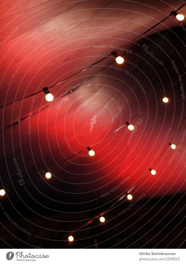 Zirkusluft (FR 6/10) Dach Stoff Streifen dunkel rot Nostalgie Zelt Zeltdach Tuch gespannt Glühbirne Beleuchtung Lichterkette Reihe Punkt aufgespannt Chapiteau