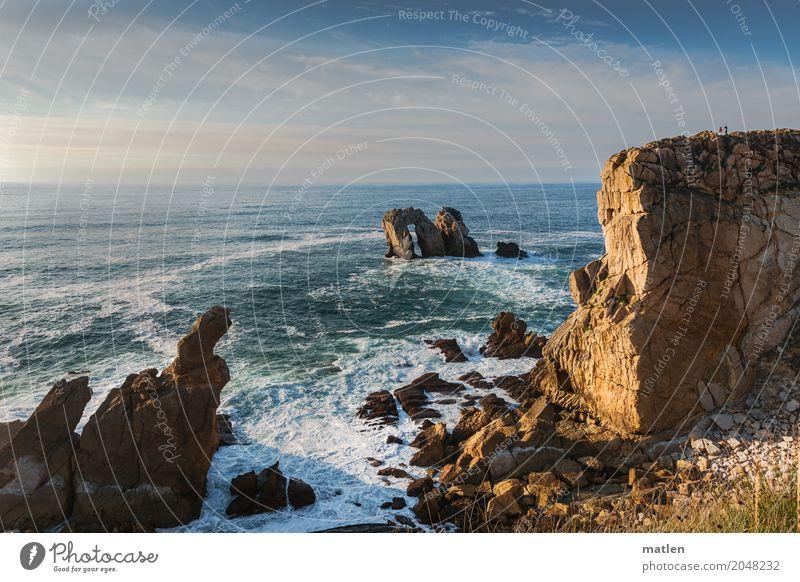 Sommerabend Himmel Natur blau weiß Landschaft Meer Wolken Strand Küste Gras braun rosa Felsen Horizont Wetter