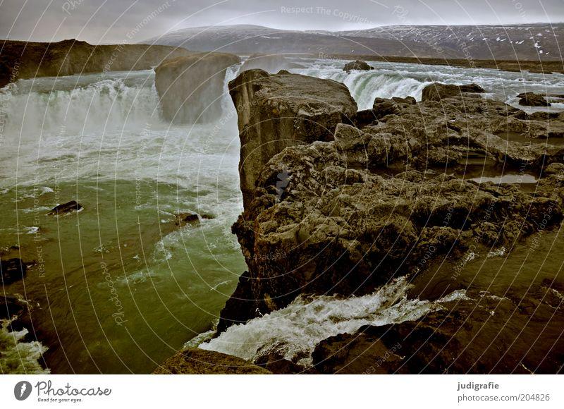 Island Natur Wasser Einsamkeit kalt dunkel Landschaft Umwelt Stimmung Kraft nass Felsen Klima natürlich wild Urelemente einzigartig
