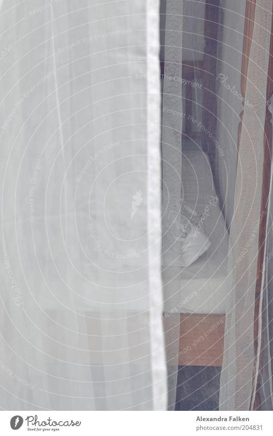 Bedtime Schlafzimmer Bett Himmelbett Gaze Vorhang Tüll Kissen Schlafmatratze Erholung Bettwäsche Bettlaken Farbfoto Menschenleer Textfreiraum links Tag