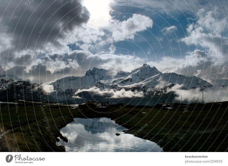 Alprausch Natur Landschaft Wasser Himmel Wolken Gewitterwolken Sonnenaufgang Sonnenuntergang Sonnenlicht Winter schlechtes Wetter Alpen Berge u. Gebirge Gipfel