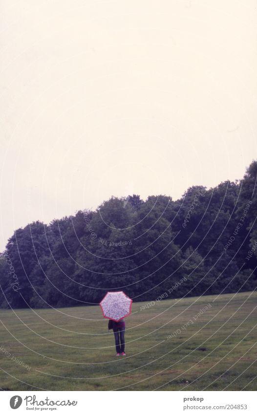 Krumm und schief Freizeit & Hobby Mensch Frau Erwachsene Umwelt Natur Landschaft Himmel Baum Park Wiese Regenschirm stehen Einsamkeit Freiheit geheimnisvoll