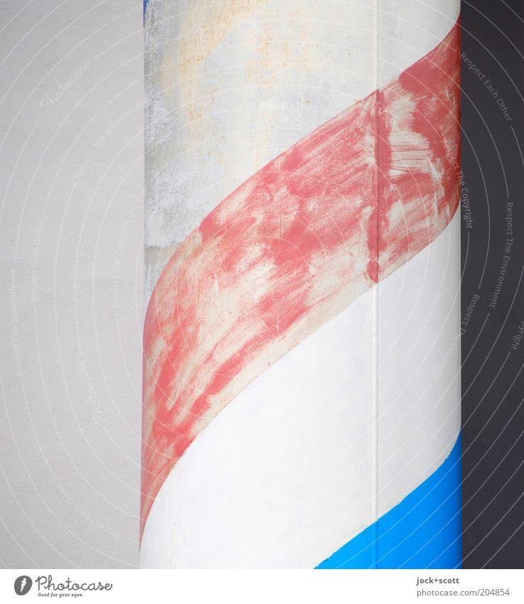 weiß rot weiß blau Graffiti Stil Linie Dekoration & Verzierung Beton Kreativität einfach Streifen einzigartig Wandel & Veränderung rund fest Teilung