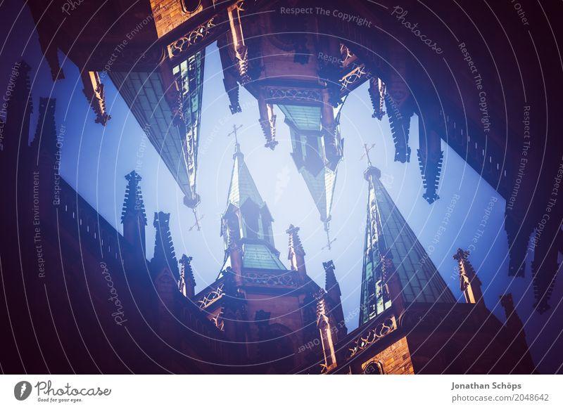 Erfurter Dom I Stadt Altstadt Skyline Kirche eckig Doppelbelichtung Kirchturmspitze Thüringen Europa Orientierung Martin Luther Jubiläum Religion & Glaube