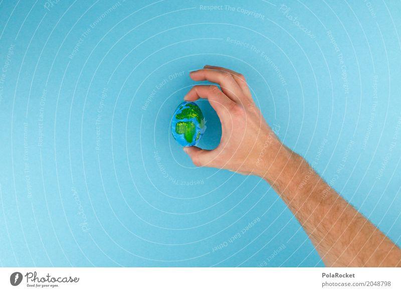 #A# Platzhalter Kunst ästhetisch Erde Planet Globus Ei Einsamkeit festhalten bemalt gestalten Kreativität Idee Design Klimawandel Klimaschutz Hand Farbfoto