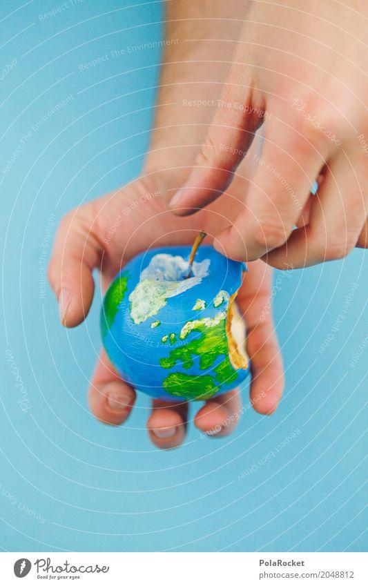#A#Erdapfel an Hand Kunst ästhetisch Apfel Apfelbaum Apfel der Erkenntnis Apfelernte Apfelschale Erde bemalt Globus Klima Klimaschutz Klimagipfel Klimazone