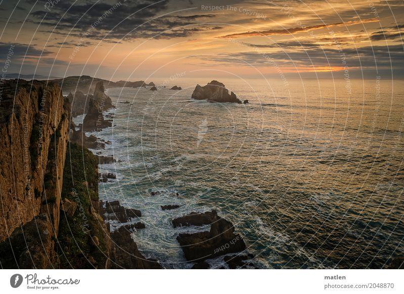 an den Klippen Natur Landschaft Himmel Wolken Sonnenaufgang Sonnenuntergang Sommer Wetter Schönes Wetter Felsen Wellen Küste Strand Bucht Riff Meer braun gold