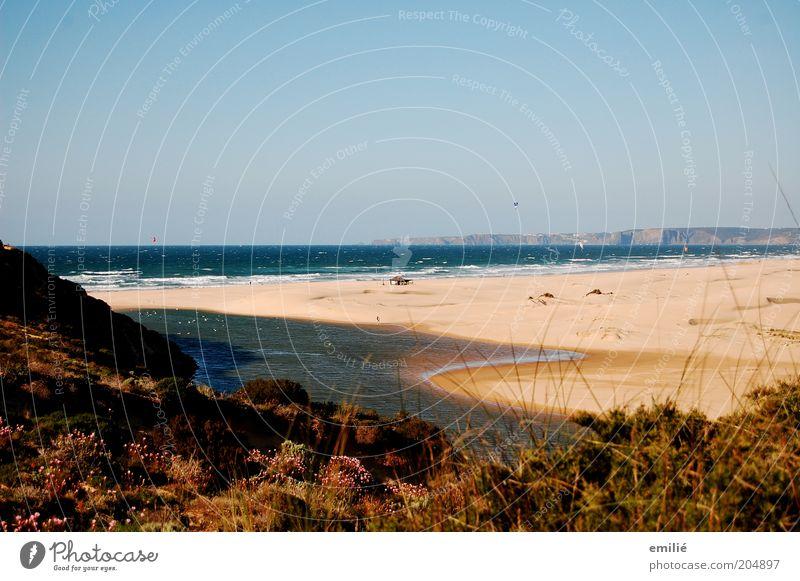 Carrapateira Natur Sand Luft Wasser Wolkenloser Himmel Horizont Sommer Wellen Küste Strand Meer Atlantik Menschenleer Erholung authentisch frei natürlich blau