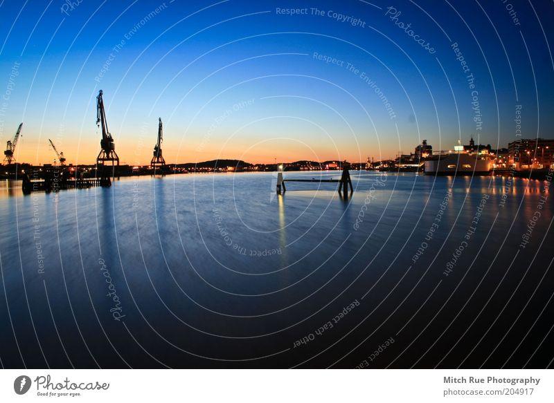 Sunset Harbor Sommer Ferien & Urlaub & Reisen ruhig Tourismus Hafen harmonisch Abenddämmerung Blauer Himmel Sightseeing Farbverlauf Städtereise Hafenstadt