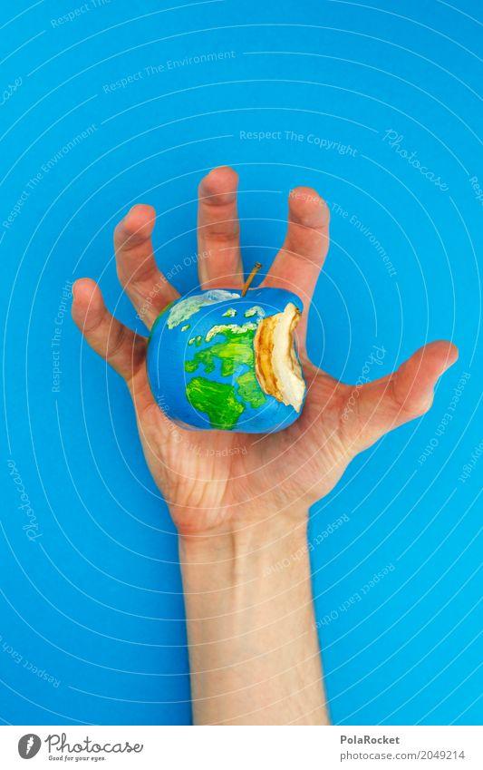 #AS# You Have Got The Whole World In Your Hands Kunst Erde ästhetisch Klima bedrohlich festhalten Gemälde Bioprodukte Apfel Gleichgewicht nachhaltig Globus