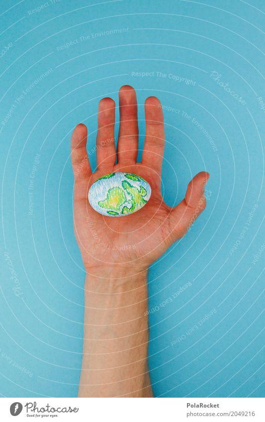 #AS# hold on Hand Religion & Glaube Kunst Erde Design ästhetisch Kreativität Beginn Zukunft einzigartig Finger Vergänglichkeit Glaube festhalten Gemälde Ei