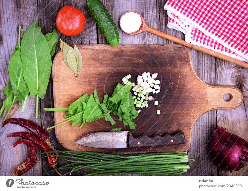 Frisches Gemüse für Salat grün rot natürlich Lebensmittel grau oben Ernährung frisch Tisch Kräuter & Gewürze Küche Ernte Vegetarische Ernährung Diät Tomate