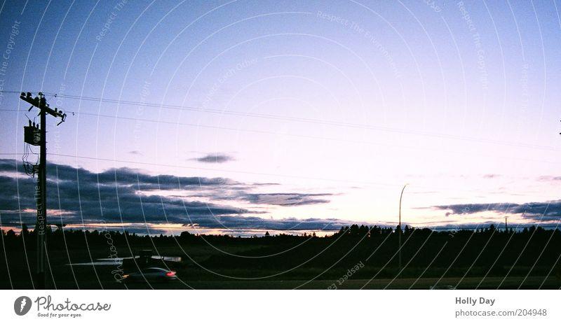 Abenddämmerung am letzten Motel der Welt Ferien & Urlaub & Reisen Strommast Kabel Himmel Wolken Horizont Sonne Sonnenaufgang Sonnenuntergang Sonnenlicht Sommer