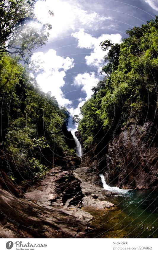bottle of life Himmel Natur Wasser grün blau Ferien & Urlaub & Reisen Wolken Landschaft Felsen Insel Tourismus Urwald Wasserfall Thailand Fischauge