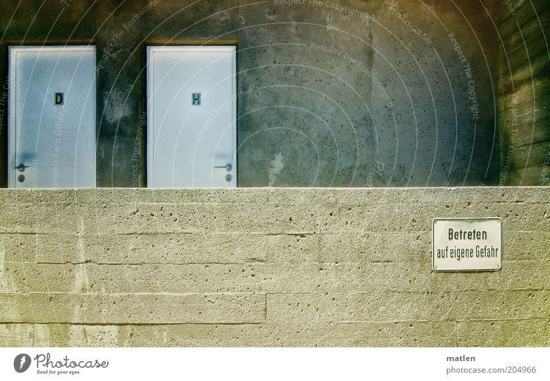 Attenzione Wand Mauer grau Stein Metall Tür Schilder & Markierungen Beton Hinweisschild Warnhinweis Toilette Damentoilette Herrentoilette