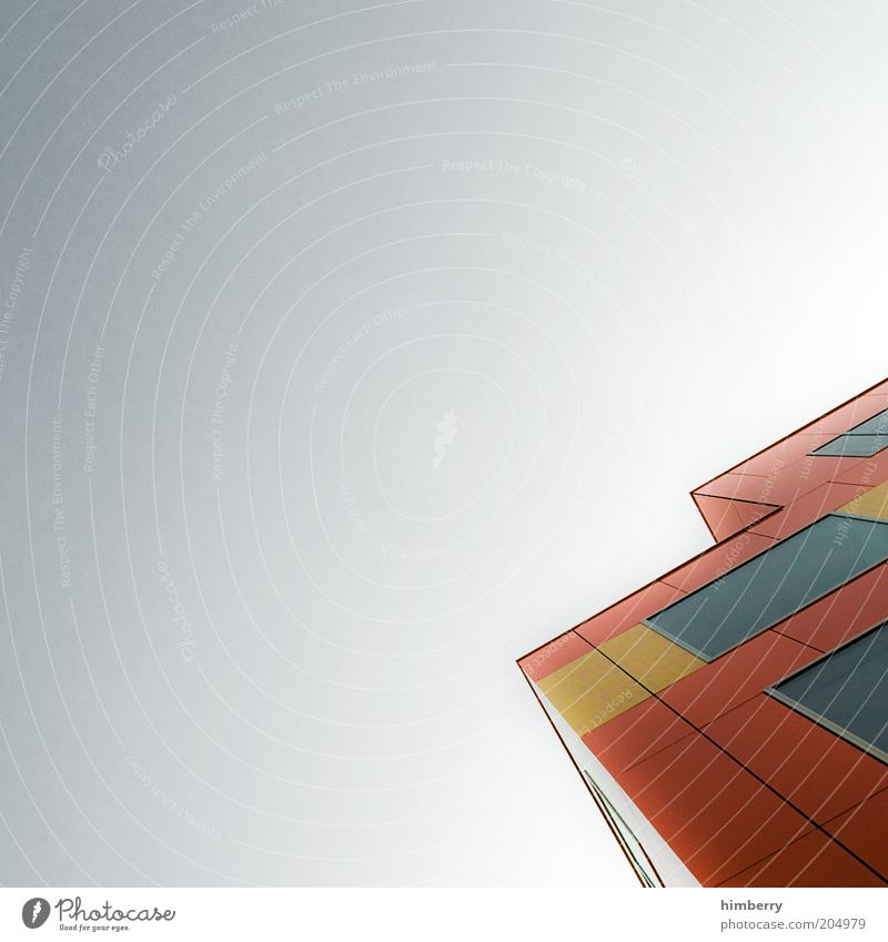 blockhouse Haus Farbe Wand Fenster Mauer Gebäude Architektur Design Hochhaus hoch Fassade modern Bauwerk Bildausschnitt abstrakt