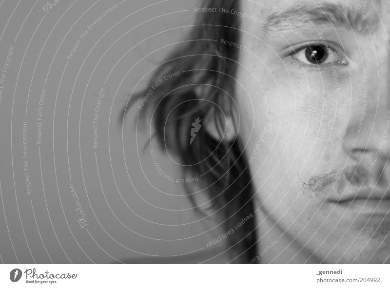 Dartanion Mensch maskulin Junger Mann Jugendliche Erwachsene Kopf Gesicht Auge Bart 1 18-30 Jahre schön Schwarzweißfoto Studioaufnahme Textfreiraum links